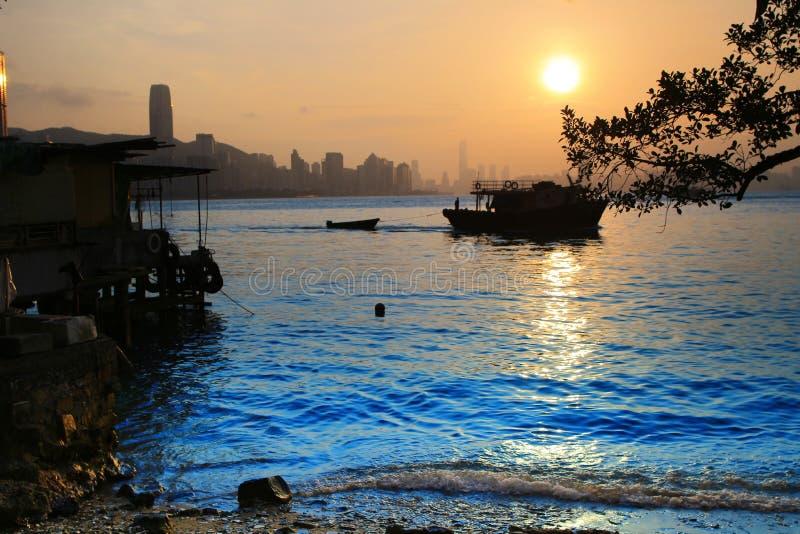 Пристаньте к берегу в зоне схвата Yau в Kowloon, Гонконге стоковое изображение