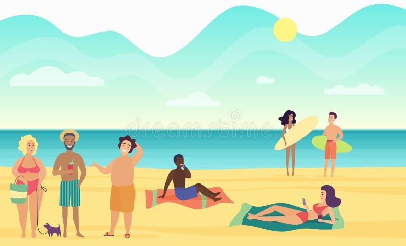 Пристаньте людей к берегу лета выполняя отдых и расслабляющую иллюстрацию вектора иллюстрация вектора