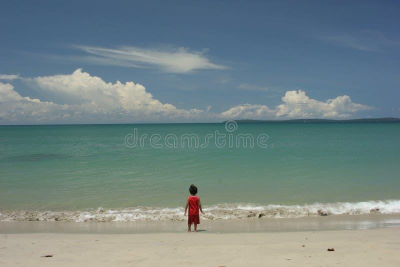 пристаньте мальчика к берегу стоковое фото