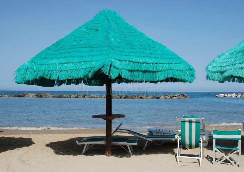 пристаньте окаимленный зеленый зонтик к берегу стоковое фото rf