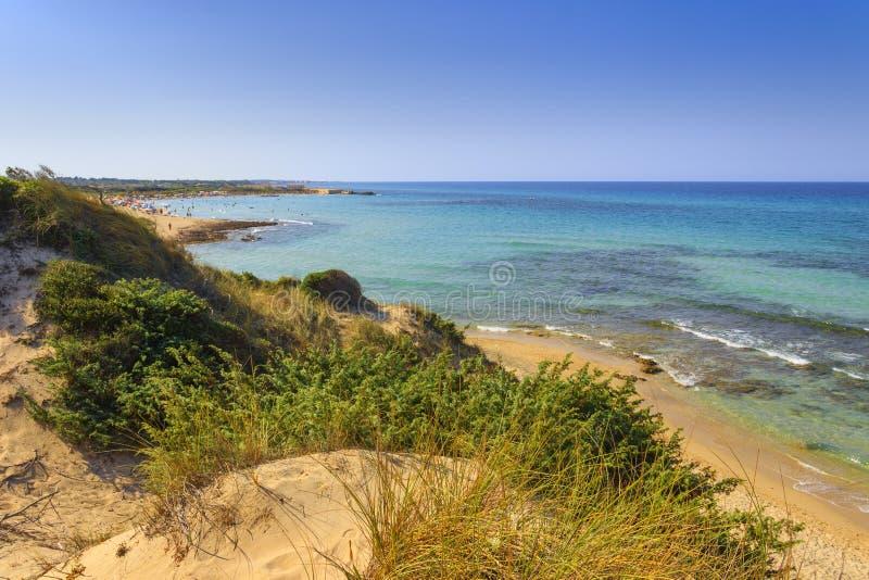 пристаньте прибой к берегу лета камней песка Кипра свободного полета среднеземноморской Заповедник Torre Guaceto: панорамный взгл стоковая фотография