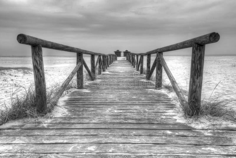 Пристаньте променад к берегу в Ла Frontera Испании Conil de стоковое изображение rf