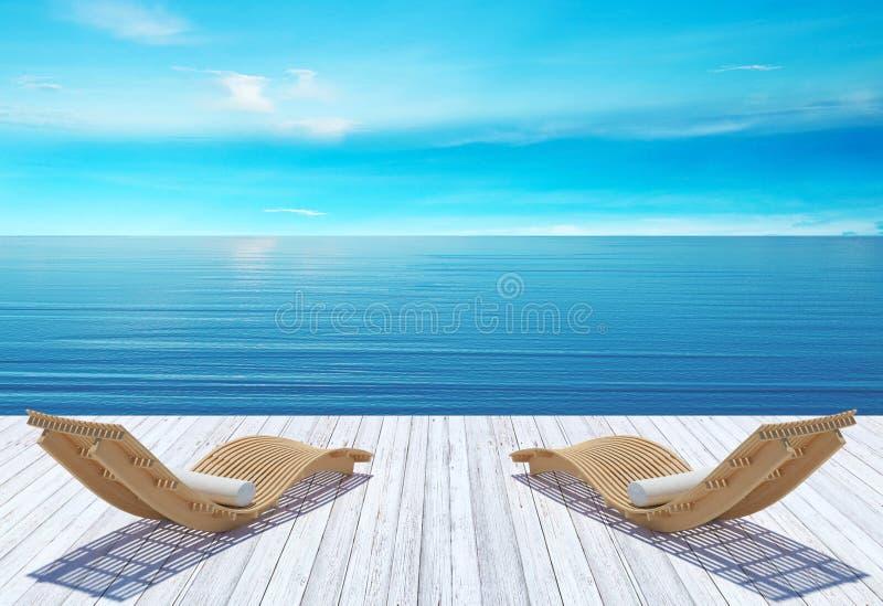 Пристаньте салон, sundeck над голубым морем и небо к берегу, концепцию каникул летнего отпуска стоковые изображения rf