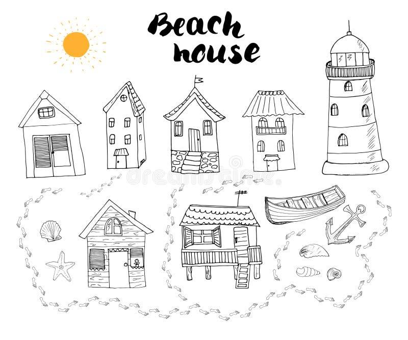 Пристаньте хаты и бунгала к берегу, руку нарисованный doodle плана установленный с маяком иллюстрация вектора