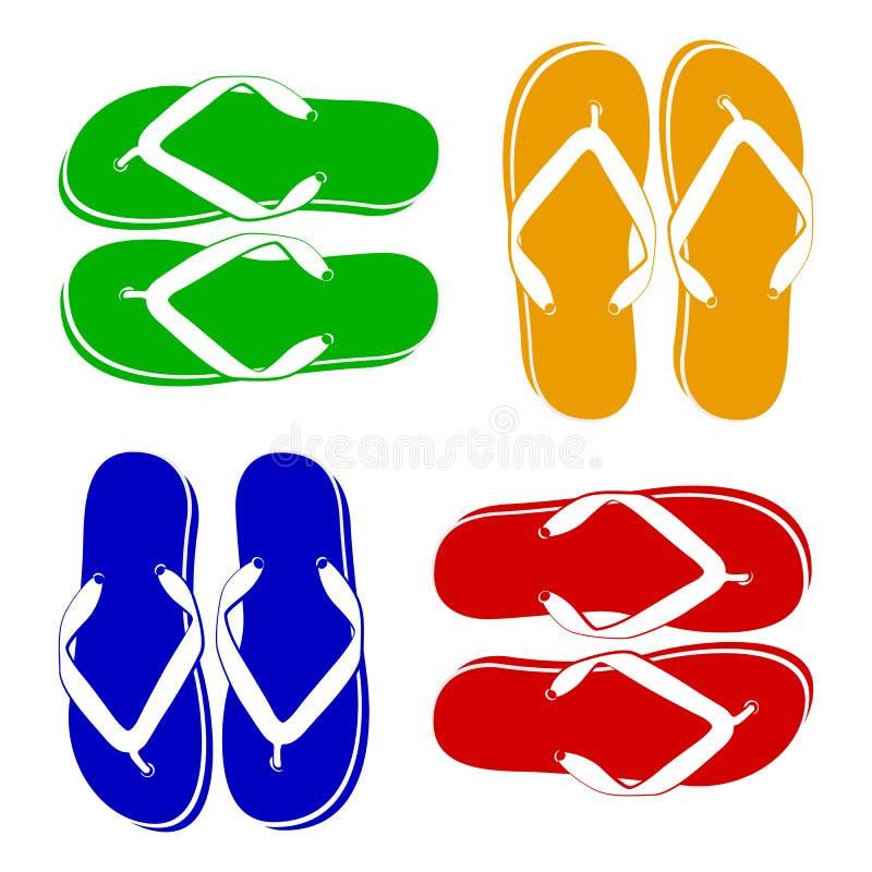 пристаньте цветастые различные сандалии к берегу веревочки flops flip повиснутые иллюстрация штока