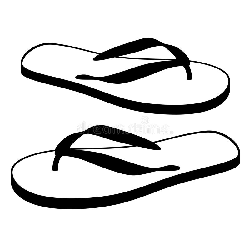 пристаньте цветастые различные сандалии к берегу веревочки flops flip повиснутые иллюстрация вектора