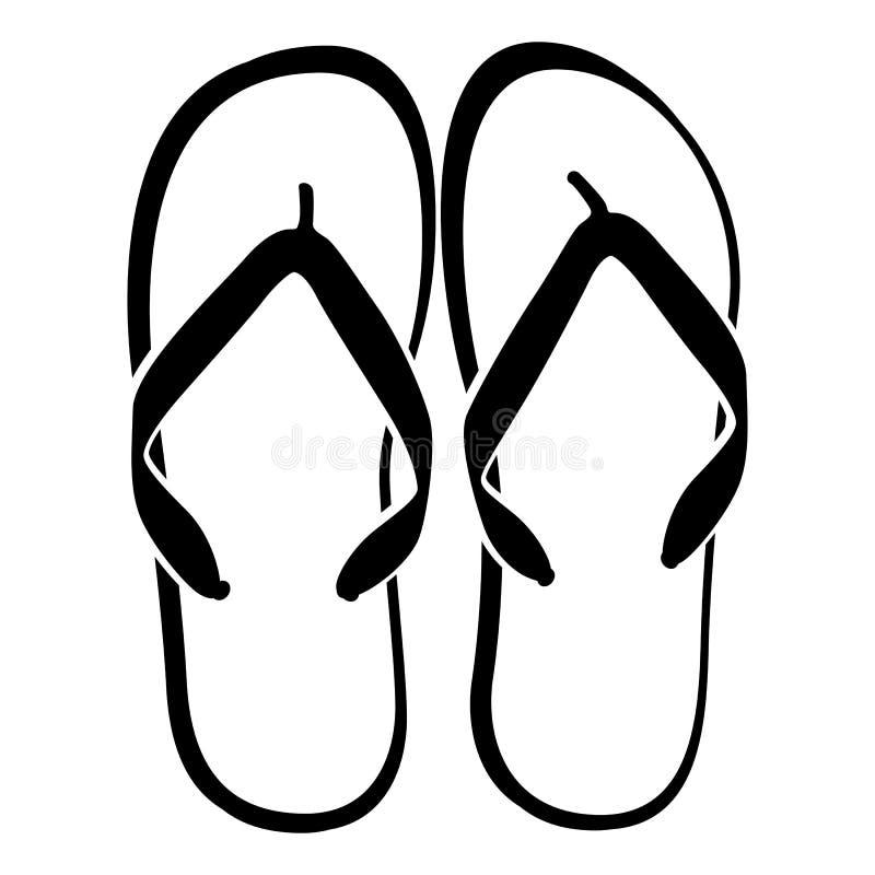 пристаньте цветастые различные сандалии к берегу веревочки flops flip повиснутые бесплатная иллюстрация