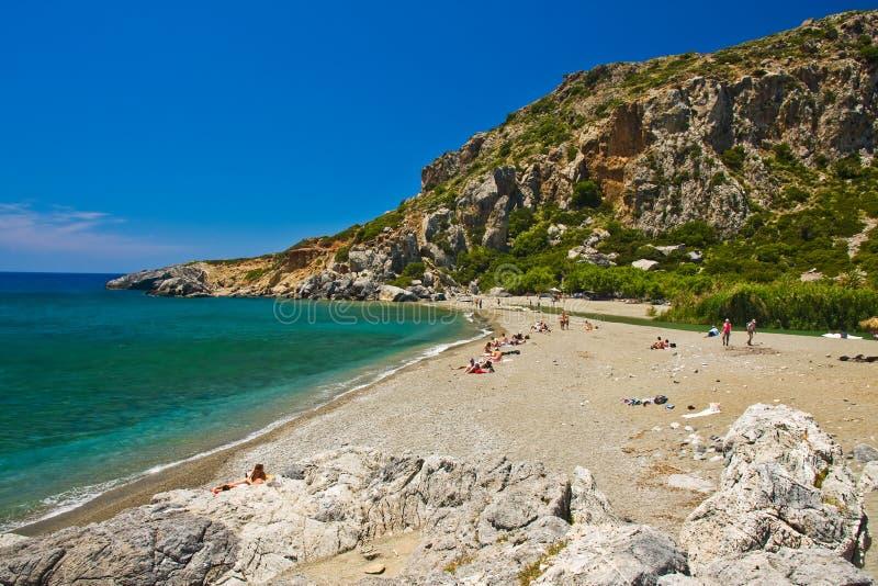 пристаньте preveli к берегу Крита Греции стоковое фото rf