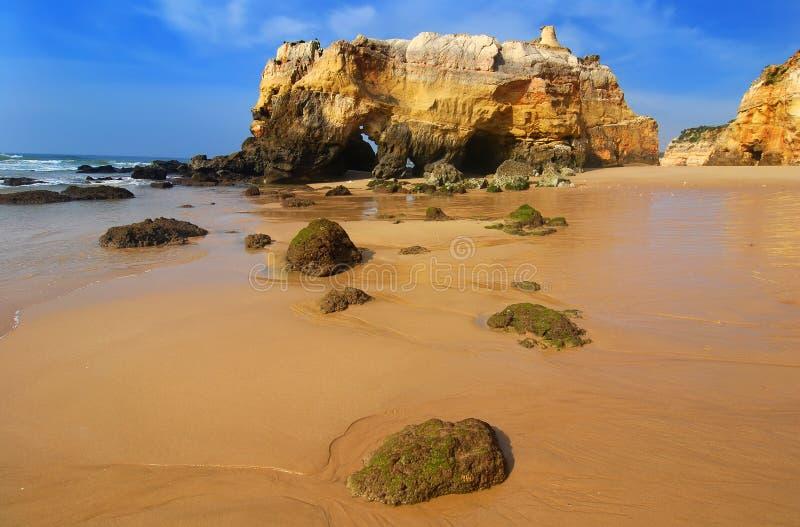 пристаньте rocha к берегу praia da Португалии стоковые изображения rf