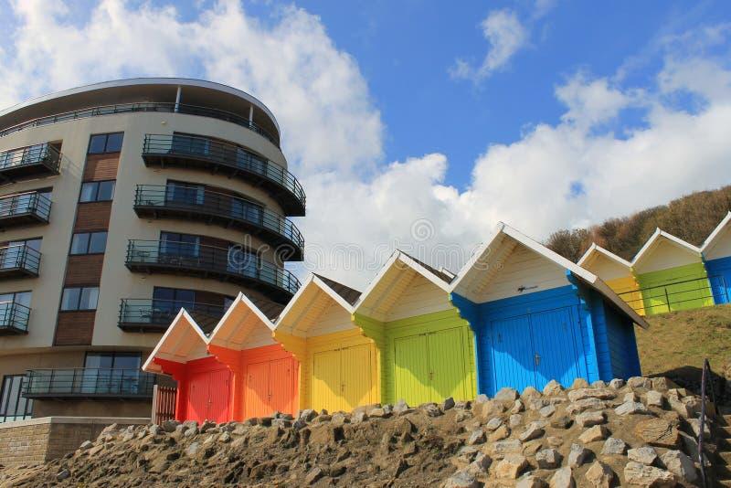 пристаньте tourst к берегу гостиницы chalets стоковое изображение