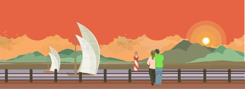 Пристань вечера бесплатная иллюстрация
