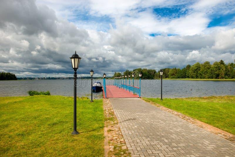 Пристань на озере Valdai стоковое изображение