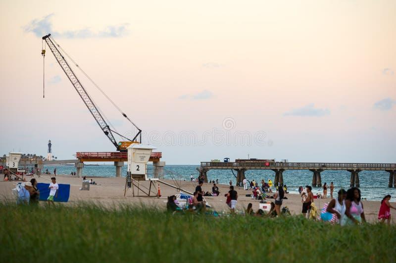 Пристань рыбной ловли в пляже Pompano, Флориде стоковая фотография