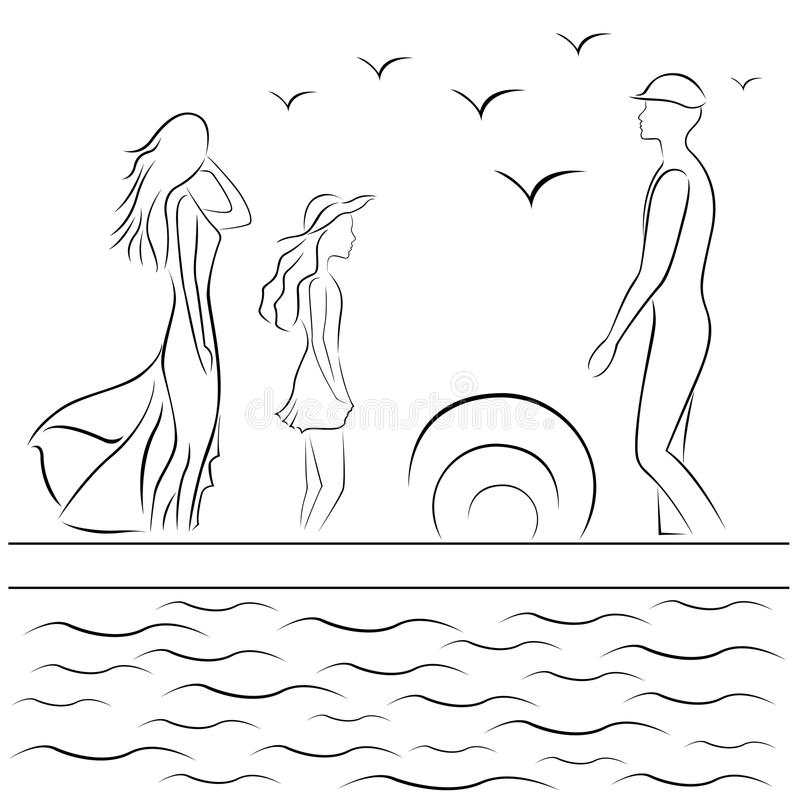 семья на море картинки карандашом