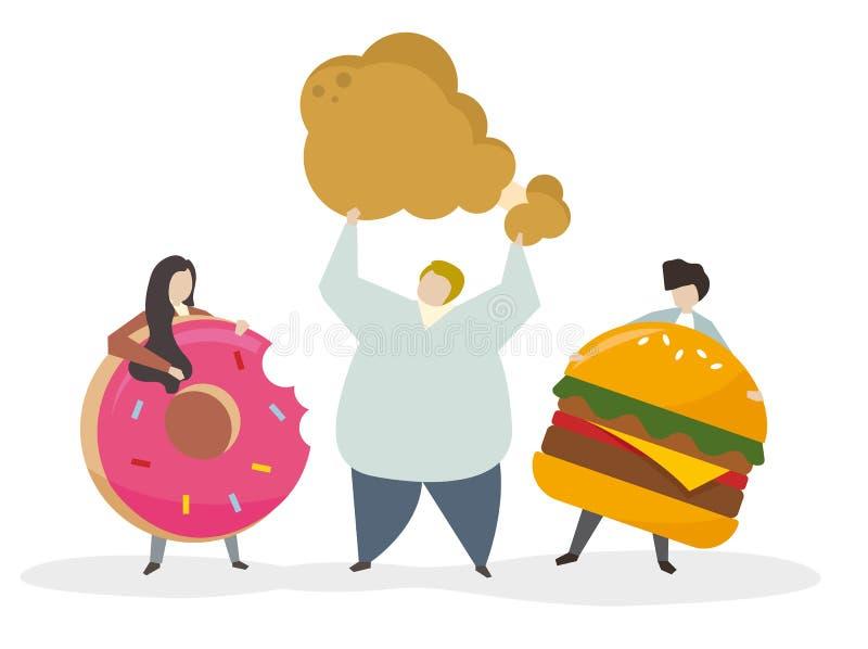 Пристрастившийся к высококалорийной вредной пище и закускам иллюстрация вектора