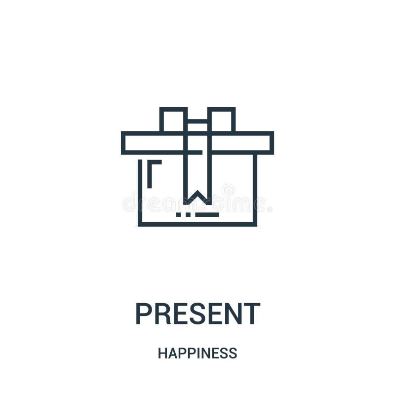 присутствующий вектор значка от собрания счастья Тонкая линия присутствующая иллюстрация вектора значка плана Линейный символ для иллюстрация вектора