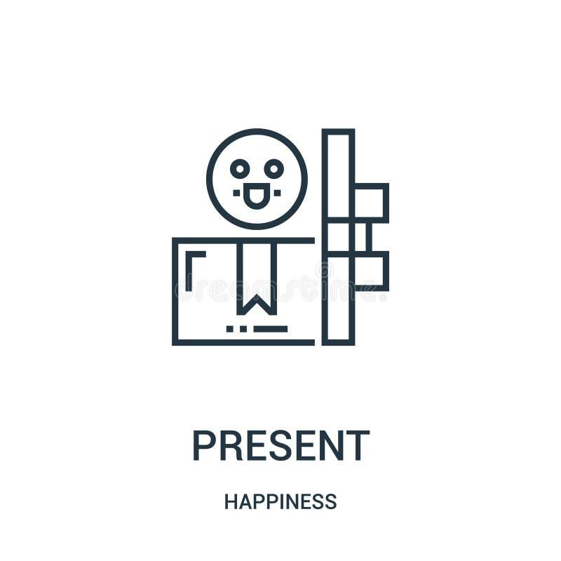 присутствующий вектор значка от собрания счастья Тонкая линия присутствующая иллюстрация вектора значка плана Линейный символ для иллюстрация штока