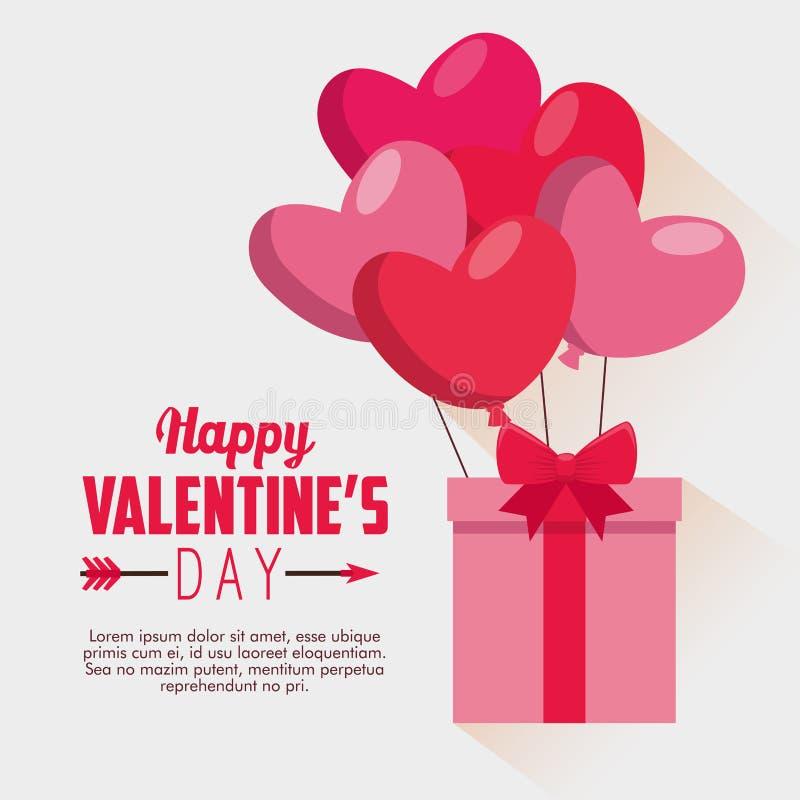 Присутствующий подарок с воздушными шарами сердец к торжеству Валентайн иллюстрация вектора