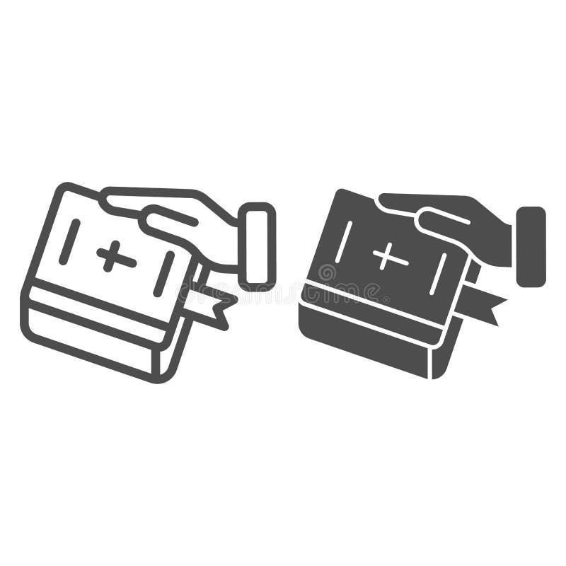 Присяга на линии библии и значке глифа Рука на иллюстрации вектора книги изолированной на белизне Поклянитесь дизайну стиля плана иллюстрация штока