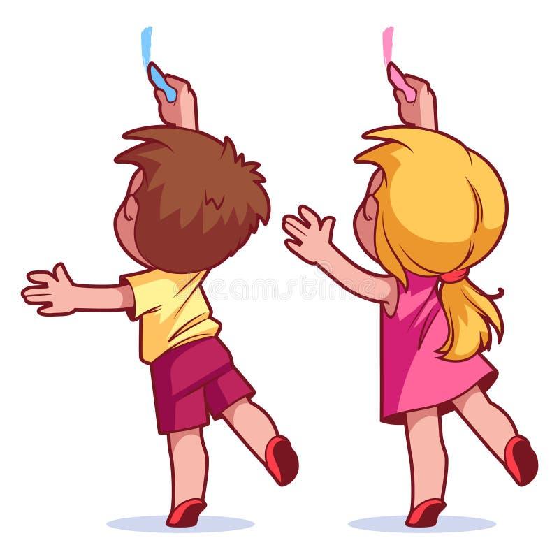 Притяжка детей на стене бесплатная иллюстрация