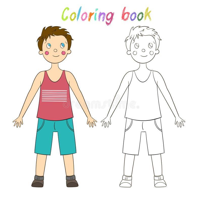 Притяжка игры книжка-раскраски воспитательная человеческий мальчик иллюстрация штока