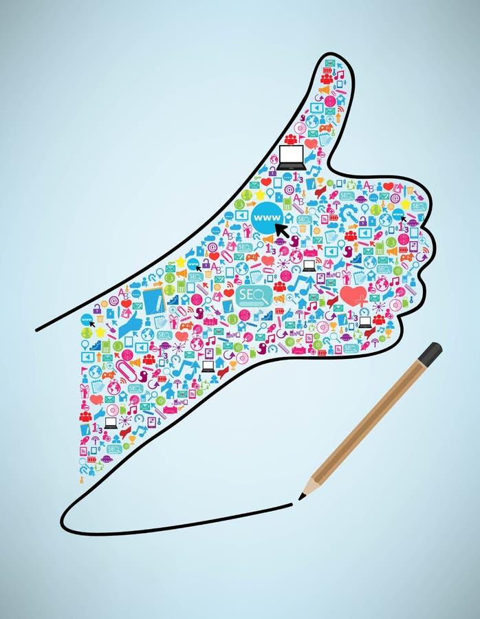 Притяжка карандаша как дизайн шаблона с социальными значками сети иллюстрация штока