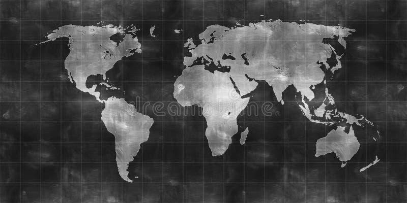 Притяжка карты мира на chalkboard иллюстрация вектора