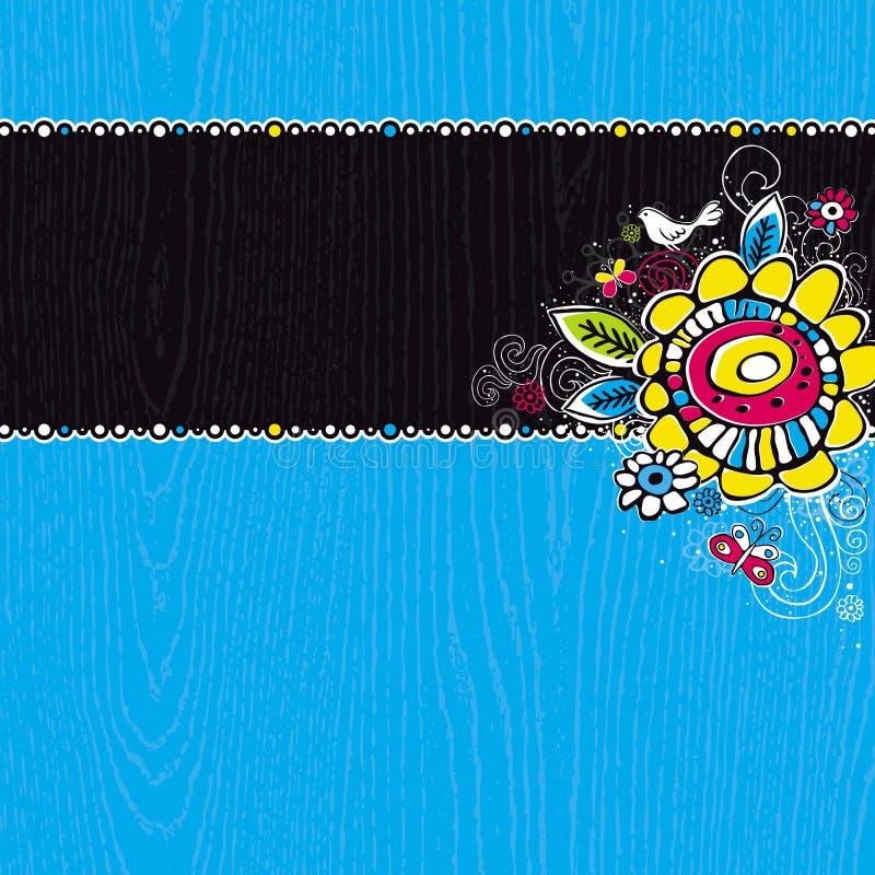 притяжка предпосылки голубая цветет рука деревянная бесплатная иллюстрация