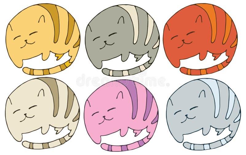 Притяжка руки набора цвета doodle мультфильма логотипа кота печати животная бесплатная иллюстрация