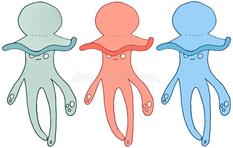 Притяжка руки doodle чудовища цвета медуз мультфильма установила счастливое лето иллюстрация вектора