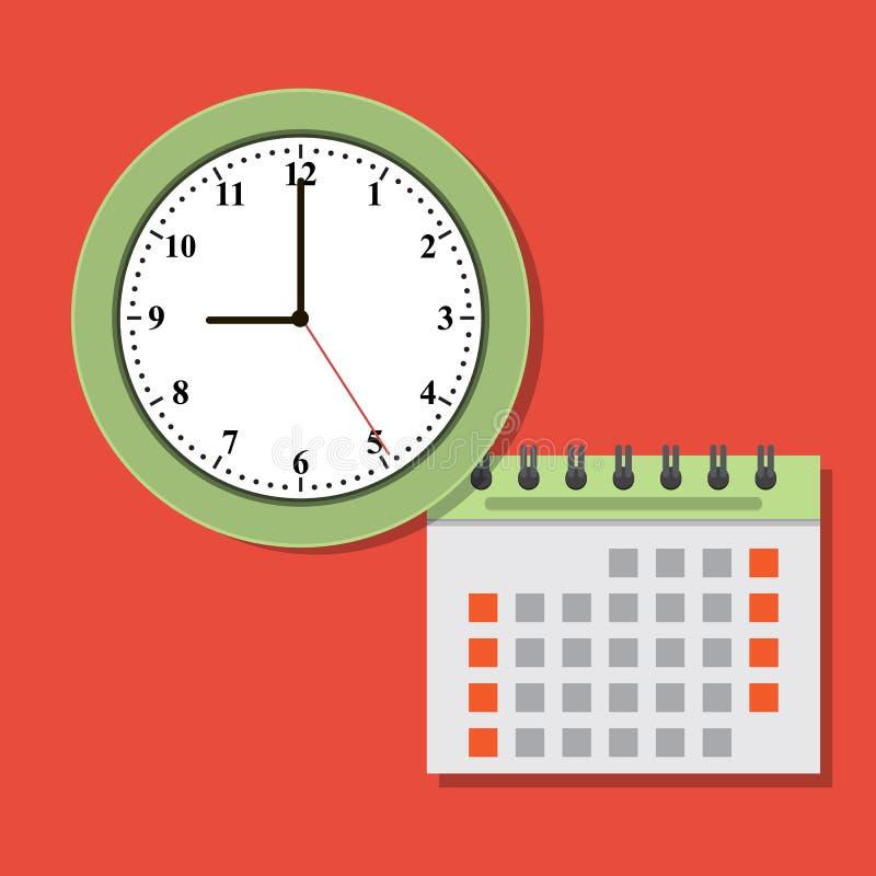 Приурочивая календарь концепции и значок часов иллюстрация вектора