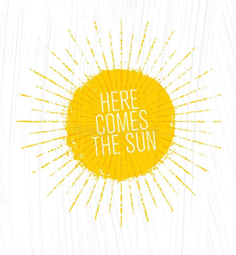 приходит здесь солнце Причудливая грубая иллюстрация лета на предпосылке Grunge иллюстрация вектора