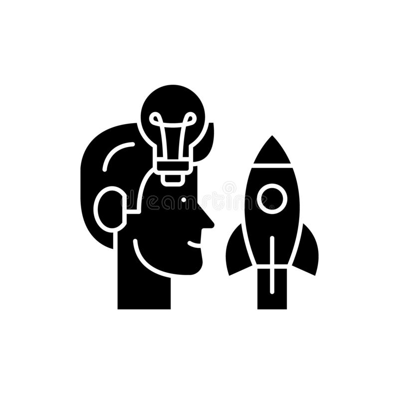 Приходящ вверх с идеями черным значком, знак вектора на изолированной предпосылке Приходящ вверх с символом концепции идей, иллюс иллюстрация вектора