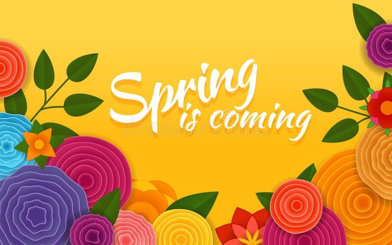 приходя весна Плакат вектора абстрактные цветки иллюстрация штока
