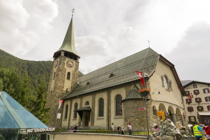 Приходская церковь St Маврикия, Zermatt, Швейцарии стоковое фото