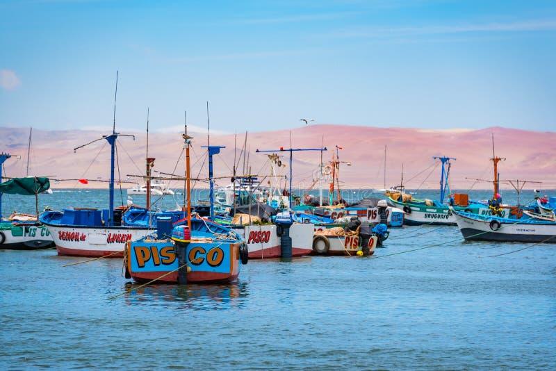 Причаленные рыбацкие лодки в Paracas, Перу стоковые фотографии rf
