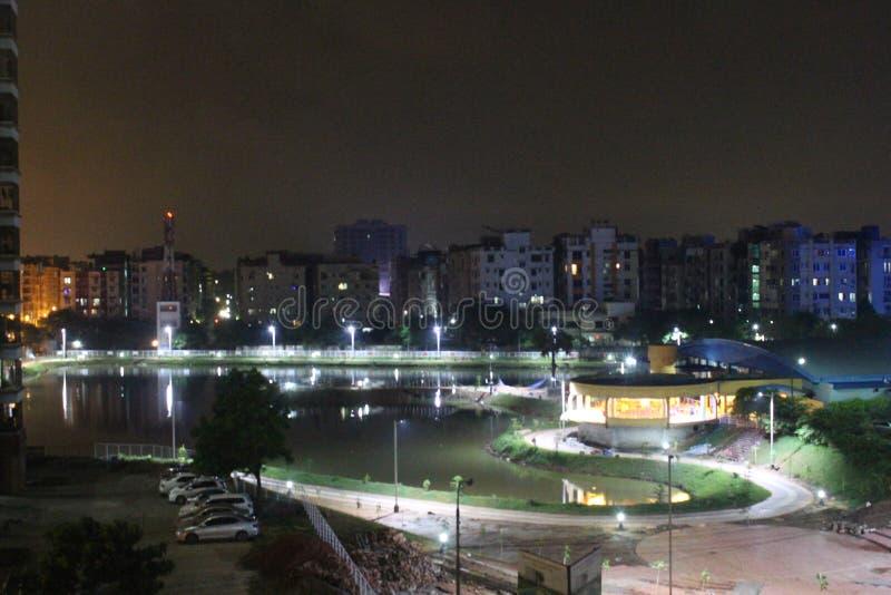причаленный взгляд корабля порта ночи стоковое фото