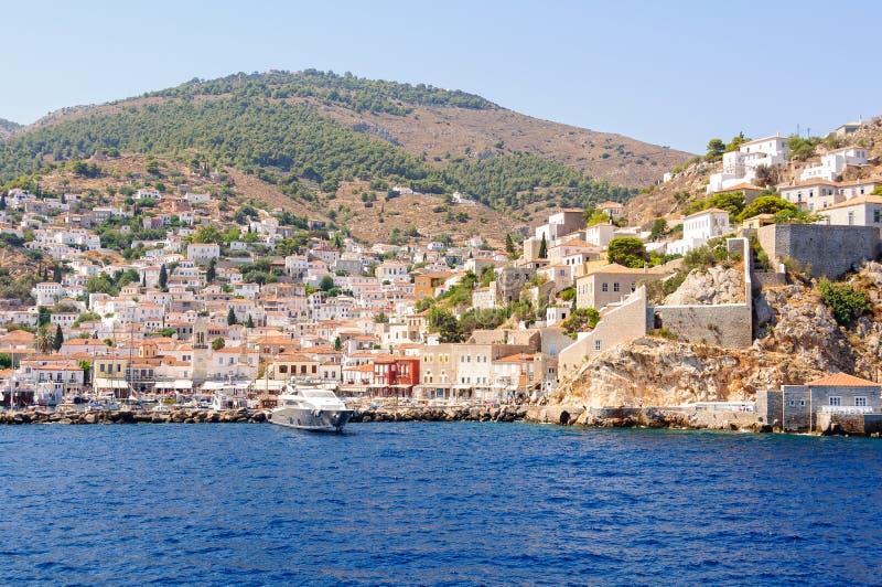 Причаливая гидра - острова Saronic стоковые изображения