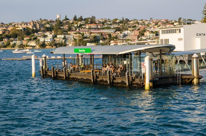 Причал парома розового залива расположен на южной стороне гавани Сиднея служа пригород Сиднея розового залива стоковая фотография rf