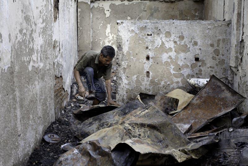 Причина дома ожога взрывом печки стоковые изображения rf