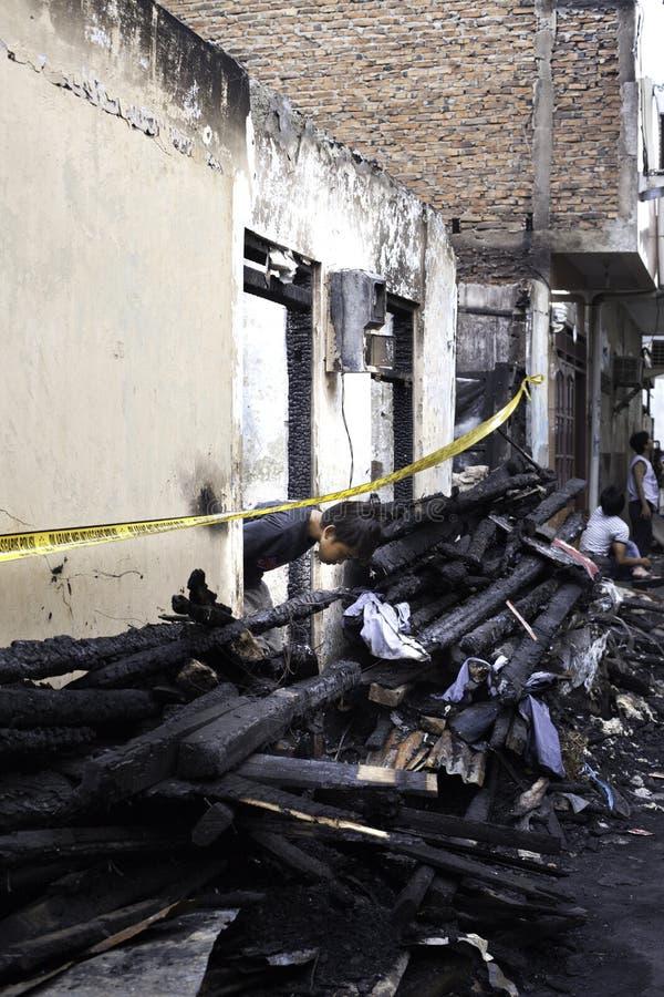 Причина дома ожога взрывом печки стоковое фото rf