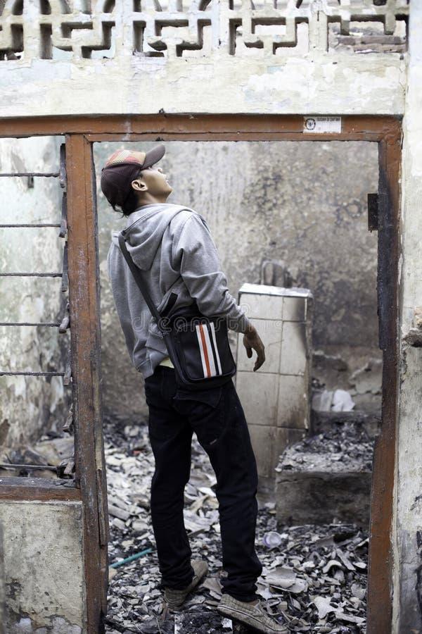 Причина дома ожога взрывом печки стоковые фото