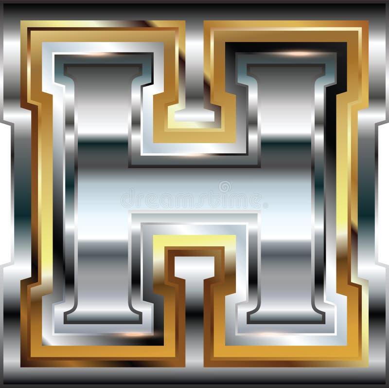 Причудливое письмо h шрифта иллюстрация вектора