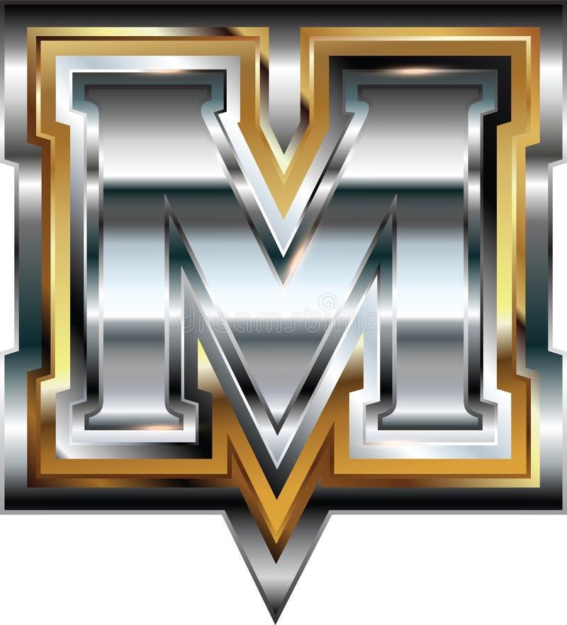 Причудливое письмо m шрифта иллюстрация вектора