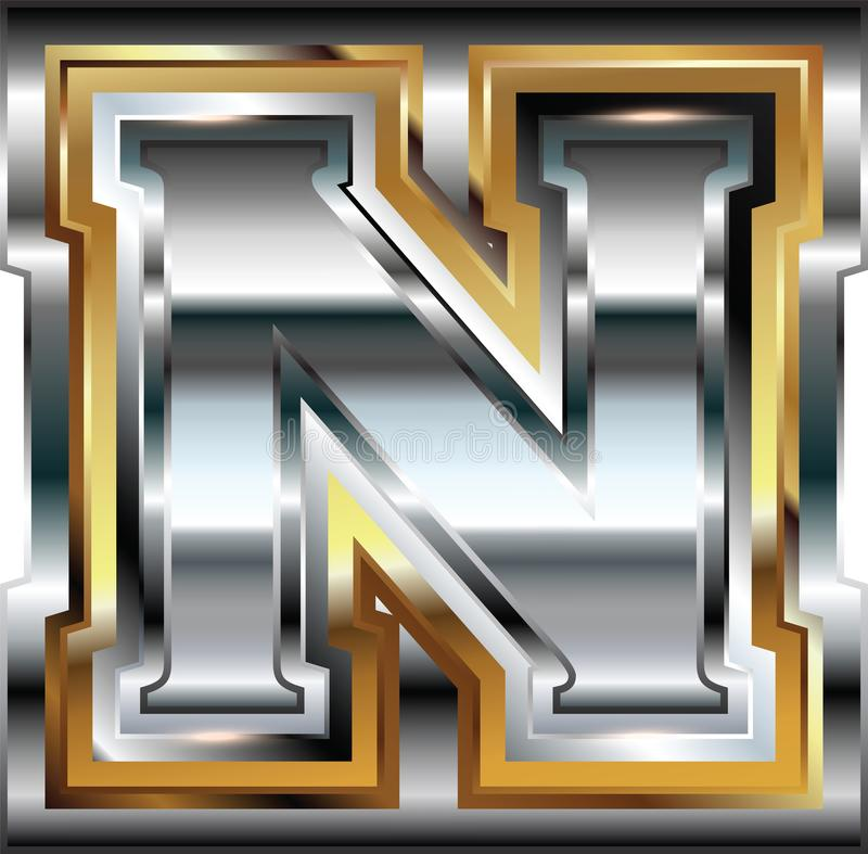 Причудливое письмо n шрифта иллюстрация штока