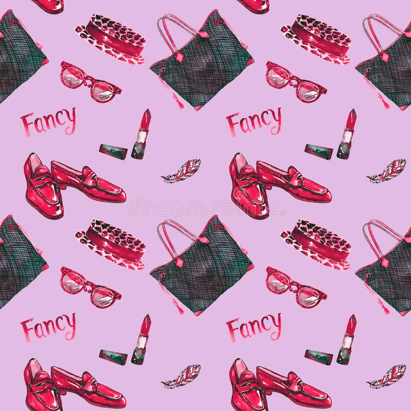 Причудливые аксессуары, безшовная картина, розовая предпосылка бесплатная иллюстрация