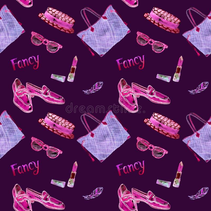 Причудливые аксессуары, пинк, фиолетовая неоновая палитра, иллюстрация акварели, безшовная картина на пурпуре иллюстрация вектора