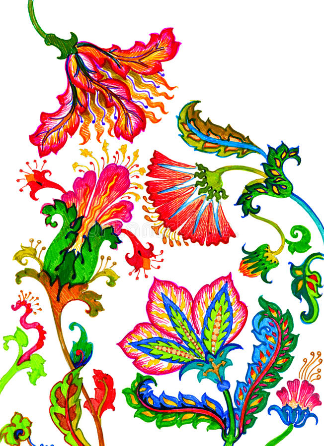 причудливые цветки иллюстрация вектора