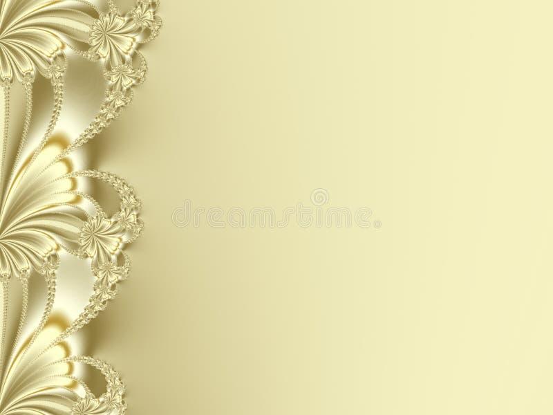 Причудливая граница фрактали в желтом цвете или золоте, походя лепестки цветка иллюстрация вектора