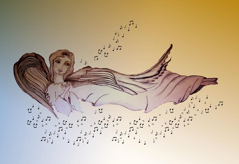 Причудливый ангел-хранитель иллюстрация штока
